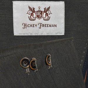 NEW $798 44R Hickey Freeman Taupe Gray LINEN blaze